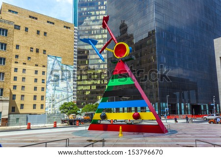 HOUSTON, TEXAS, USA - JULY 11: sculpture Personage and Birds by Joan Miro created in 1970 and installed here in 1982  on July 11, 2013 in Houston, USA. - stock photo