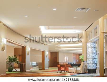 HOUSTON, TX JUNE 04: Modern lobby of Marriott luxury hotel on June 4th 2013 . Convention centers typically offer sufficient floor area to accommodate several thousand attendees. - stock photo