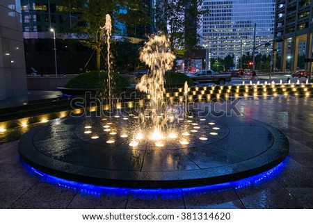 Houston, TX/USA - circa July 2013: Fountain with lights and illumination in Downtown Houston, Texas - stock photo