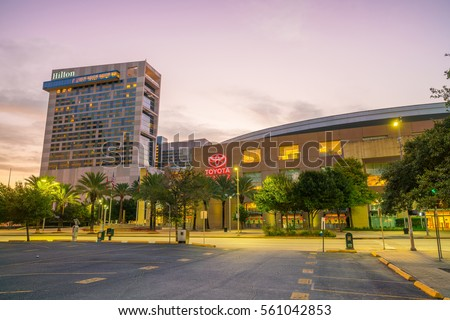 Houston, TX USA - NOV 11 : Toyota Center in downtown Houston, Texas on November 17, 2016 It is named after the Japanese automobile manufacturer Toyota. The arena is home to the Houston Rockets