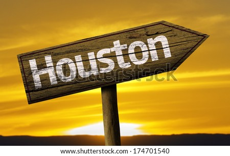 Houston wooden sign on a beautiful day - stock photo