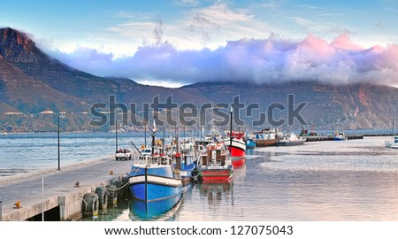 Hout Bay harbour in summertime - close to Cape Town, South Africa