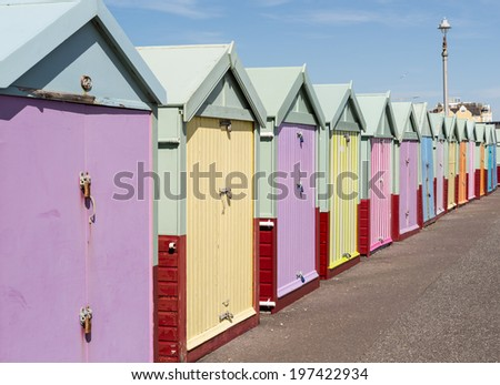 Hove Beach Huts in the sunshine - stock photo