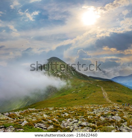 hoverla mount in a clouds - stock photo