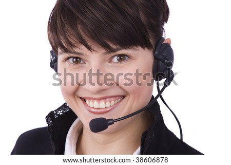 How can i help you? Beautiful Customer Representative girl with headset. - stock photo