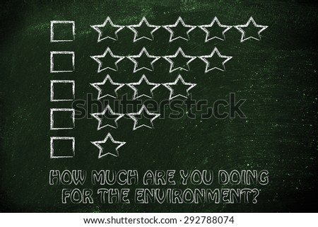how much are you doing for the environment? feedback chart with stars to evaluate ecological behaviors - stock photo