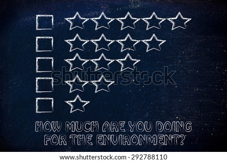 how much are you doing for the environment? feedback chart with stars to evaluate ecological behaviors