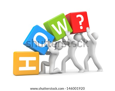 How? Teamwork metaphor - stock photo