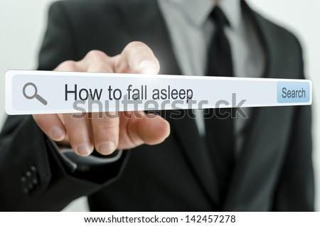 How to fall asleep written in search bar on virtual screen. - stock photo