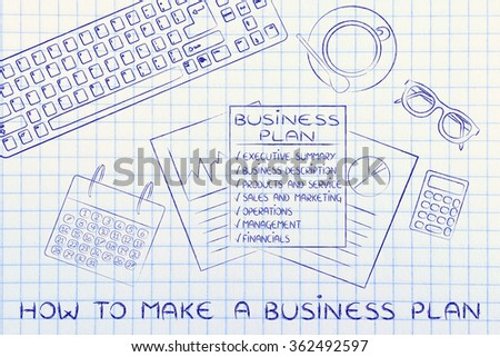 how to make a business plan: illustration of an office desk with detailed documents