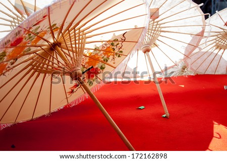 How to make the process umbrella made �¢??�¢??of paper / fabric. Arts and crafts of the village Bo Sang, Chiang Mai Thailand. - stock photo