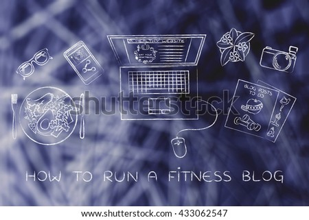 how to run a fitness blog: desk with healthy recipe, fitness documents and personal blog website on laptop's screen