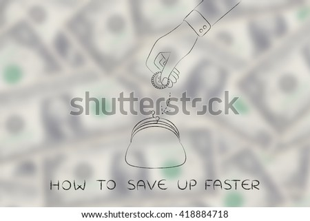 how to save up faster: hand dropping coin into purse, concept of earning or saving money - stock photo