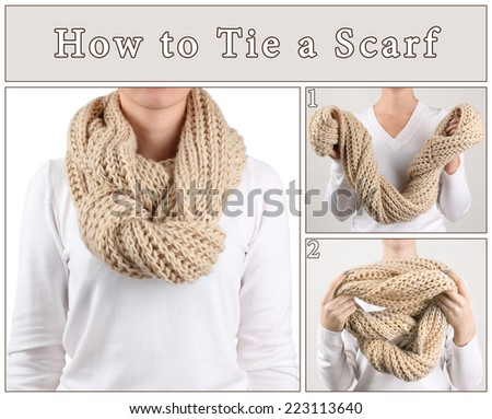 How to tie a scarf? Woman wearing scarf, close up - stock photo