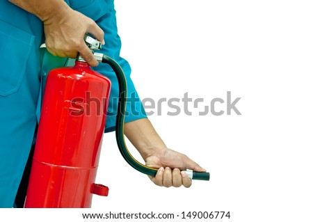 How to use fire extinguisher - stock photo
