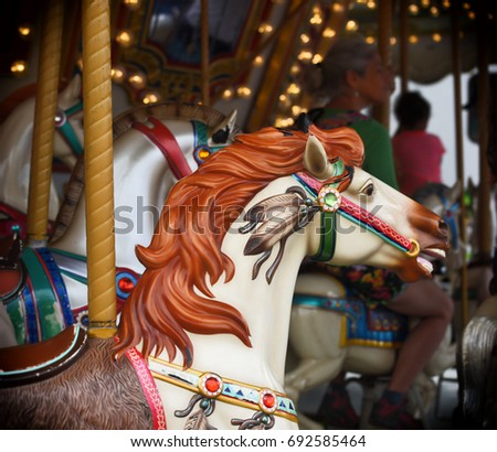 Howard County, Maryland - August 8: aging carousel horse on 8 August, 2017 at the County Fair in Howard County, Maryland, USA