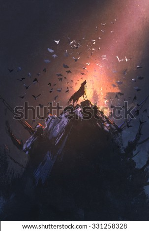 howling wolf on rock with bird flying around,illustration painting - stock photo