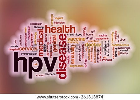 HPV word cloud concept with abstract background - stock photo