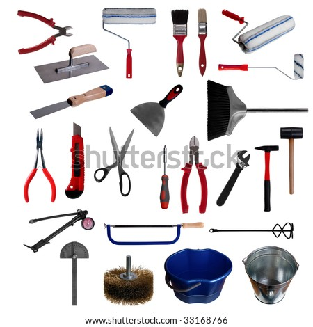 HQ large page of work tools isolated on white background - stock photo