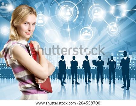 HR concept. Business man choosing the employee - stock photo