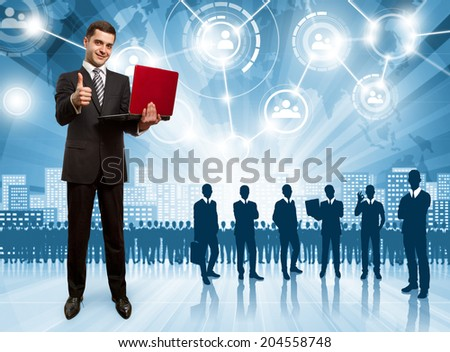HR concept. Business man choosing the employee - stock photo