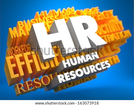 HR - Human Resources. The Words in White Color on Cloud of Yellow Words on Blue Background. Wordcloud Concept. - stock photo