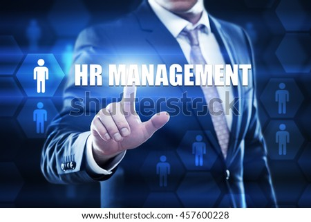 hr management, business,technology and internet concept. Businessman are using a virtual computer and are selecting hr management. - stock photo