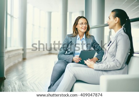 Hr manager holding job interview with a female candidate - stock photo
