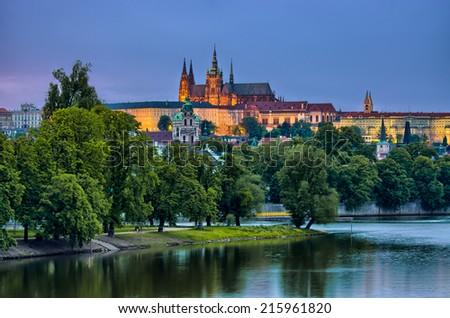 Hradcany and Vltava river in the night - Prague, Czech Republic - stock photo