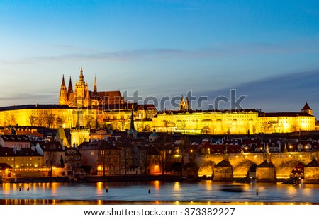 Hradcany Castle and Charles Bridge in night (UNESCO), Prague, Czech Republic
