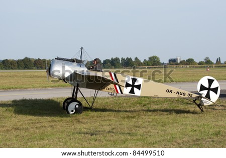 HRADEC KRALOVE, CZECH REPUBLIC - SEPT 4: Replica of plane Fokker E III in Czech International Air Fest Air Show at airfield in Hradec Kralove, Czech Republic on September 4, 2011