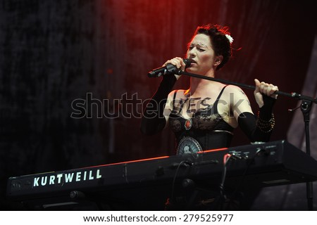 HRADEC KRALOVE - JULY 2: American singer Amanda Palmer during her performance at festival Rock for People in Hradec Kralove, Czech republic, July 2, 2013.