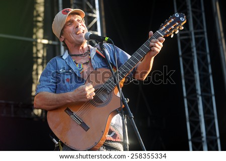 HRADEC KRALOVE - JULY 3: French singer Manu Chao during his performance on festival Rock for People in Hradec Kralove, Czech republic, July 3, 2014. - stock photo