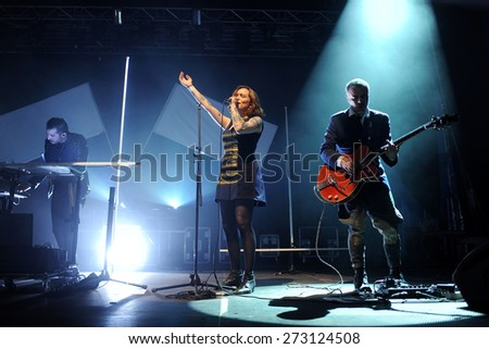 HRADEC KRALOVE - JULY 5: Singer Amina (in the middle) of Kadebostany band during performance at festival Rock for People in Hradec Kralove, Czech republic, July 5, 2014.