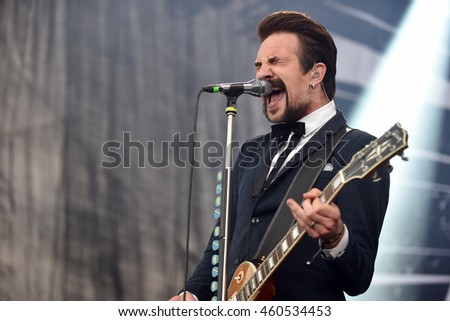 HRADEC KRALOVE - JULY 3: Singer and guitarist Adam Grahn of Royal Republic during performance at festival Rock for People in Hradec Kralove, Czech republic, July 3, 2016.