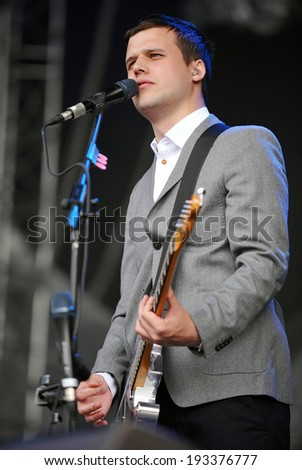 HRADEC KRALOVE - JULY 4: Singer Harry McVeigh of White Lies during performance on festival Rock for People in Hradec Kralove, Czech republic, July 4, 2011.