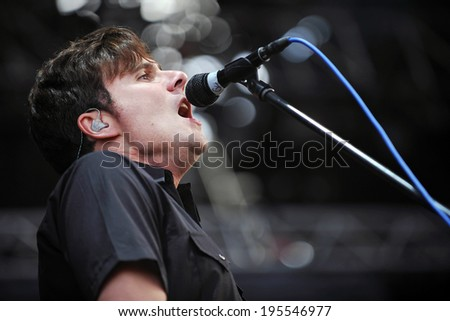 HRADEC KRALOVE - JULY 5: Singer Jim Adkins of Jimmy Eat World during performance on festival Rock for People in Hradec Kralove, Czech republic, July 5, 2011.