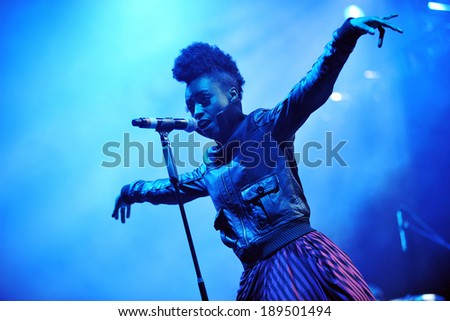 HRADEC KRALOVE - JULY 6: Singer Skye Edwards of Morcheeba during performance on festival Rock for People in Hradec Kralove, Czech republic, July 6, 2010. - stock photo
