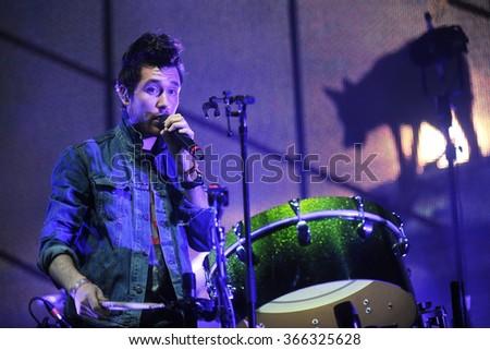 HRADEC KRALOVE - JUNE 6: Singer Dan Smith of English band Bastille during performance at festival Rock for People in Hradec Kralove, Czech republic, June 6, 2015. - stock photo
