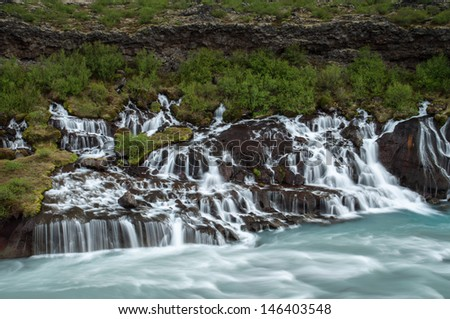 Hraunfossar, Icelandic waterfall - stock photo