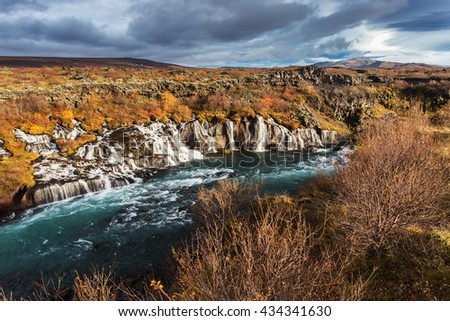 Hraunfossar waterfall, Iceland. Autumn colorful landscape - stock photo