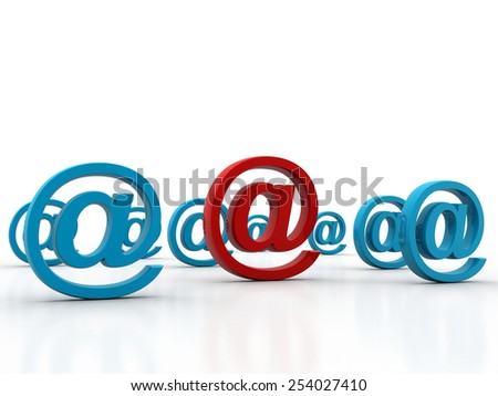 hree dimension sign of e-mail on business chart - stock photo