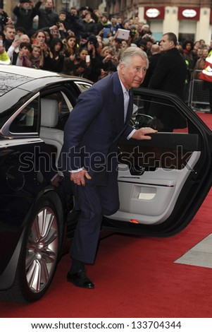 HRH Prince Charles, The Prince of Wales arriving for the The Prince's Trust Celebrate Success Awards 2013 at the Odeon Leicester Square, London. 26/03/2013 Picture by: Steve Vas - stock photo