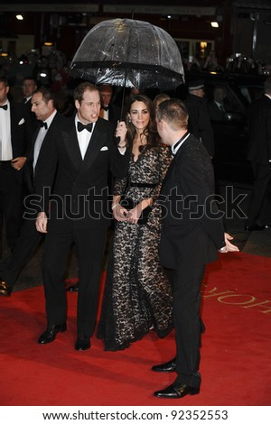 "HRH Prince William and Princess Catherine, Duchess of Cambridge arriving for the premiere of ""War Horse"" at the Odeon Leicester Square, London. 09/01/2012  Picture by: Steve Vas / Featureflash - stock photo"
