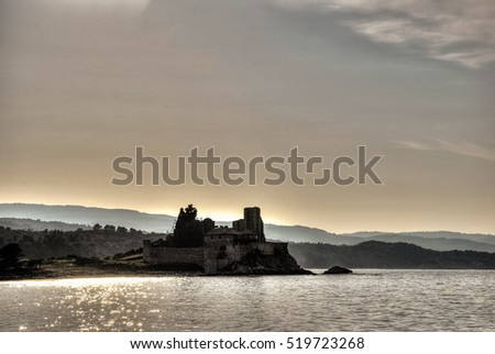 Hrusia castle with church dedicated to St Basil, Mount Athos