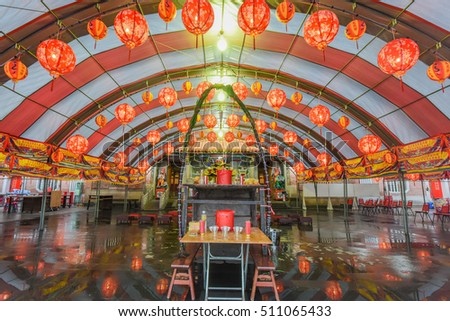 Hsinchu, Taiwan: August 31, 2015: Yimin Temple with Beautiful Hakka Printed Lantern During Yimin Festival
