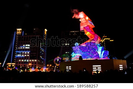 Hsinchu, Taiwan - March 09, 2013: Chinese lantern festival in Hsinchu.