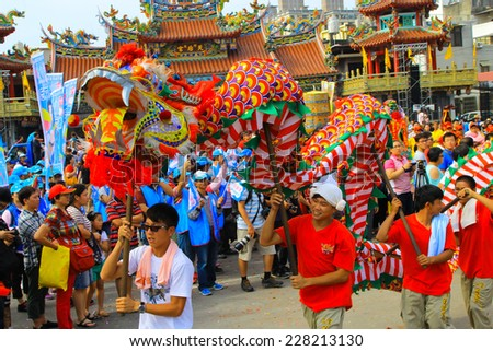 Hsinchu, Taiwan, 26 October 2014 dragon dance in Hsinchu, Taiwan to celebrate the birthday of a local deity