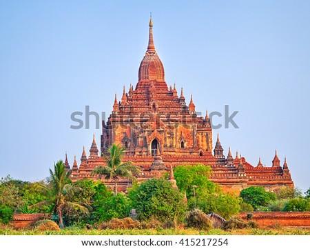 Htilominlo Temple in Bagan. Myanmar. Panorama - stock photo
