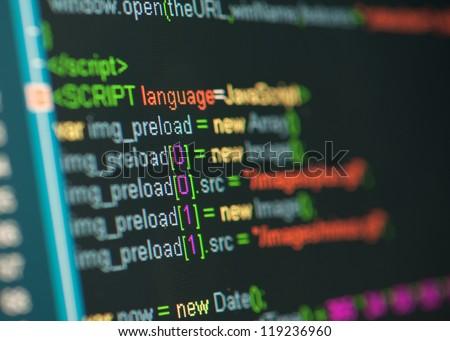 HTML code on lcd screen - stock photo